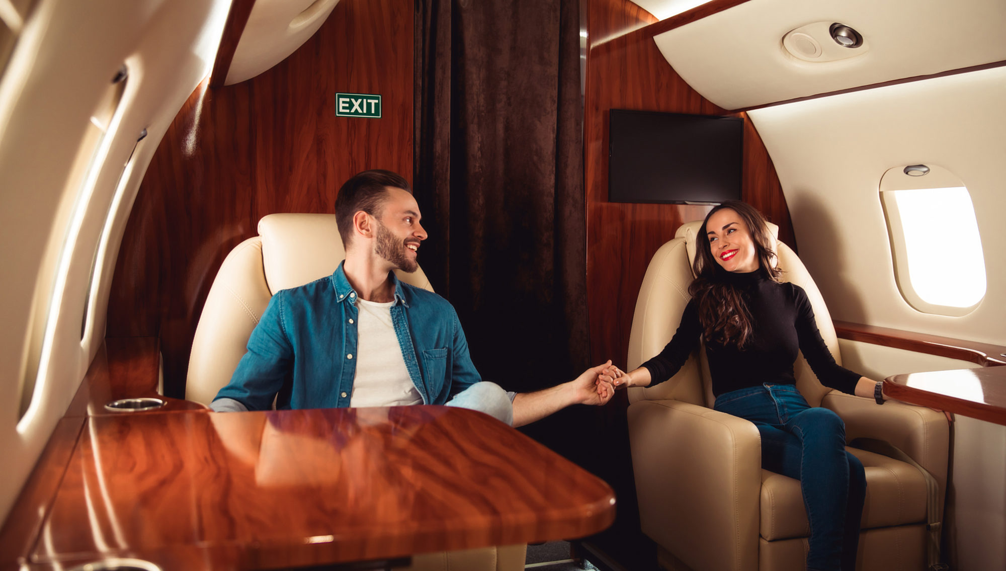 image couple on private jet